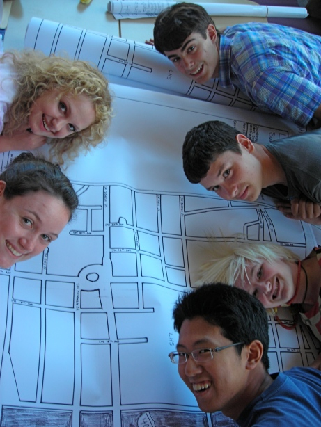 The group and their hand-drawn map of the Lincoln High School '20-Minute Neighborhood'